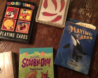 Cards! 7 Decks, Vintage Collectible Playing Cards, HARLEY DAVIDSON, Late 80s-early 90s, Warner Bros, Scooby Doo, Afrocentric, Sea World