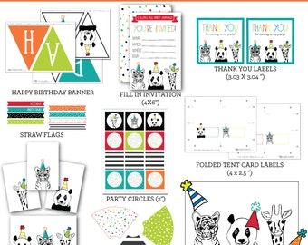 ZOO Party Animals - PARTY PACK Printables - Instant Download