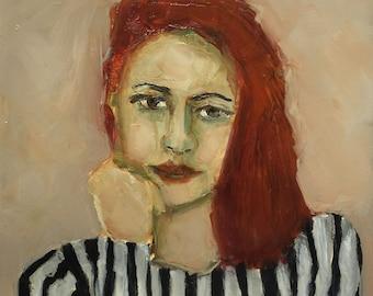 Original Oil Painting - Strawberry Fields - Colette Davis - Female ABSTRACT FIGURE PORTRAIT