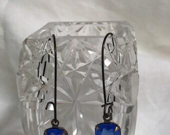 Blue Retangle Earrings