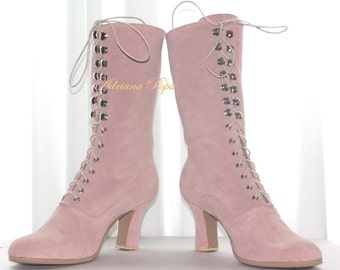 Blush Pink Victorian Boots Ankle boots in suede Blush Pink leather  Powder pink Shoes Wedding Boots Wedding Shoes