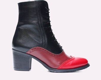 Leather Ankle Boots in black marsala and red leather Ankle shoes Comfort Boots Custom made shoes Strong calf shoes Wide feet shoes
