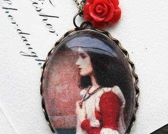 Juliet (Romeo and Juliet) Necklace. John William Waterhouse. (magnifying pendant art book illustration jewelry antique romantic shakespeare)