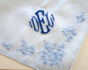 Blue Cotton Handkerchief with 3 Initial Monogram & Date