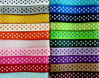 20 Yards SWISS DOTS 3/8 Grosgrain Ribbons - 1 Yard Each of 20 Different Colors