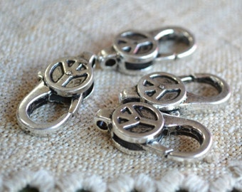 4pcs Clasp Lobster Claw Antiqued Silver Finished Pewter 27x12mm Peace Sign Design