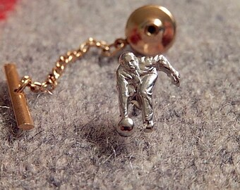 Bowling Tie Tack, Bowler, Vintage Tie Tack, Men's Accessories, Gift for Him