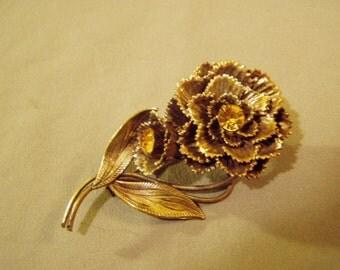 Vintage 1930s 40s Czechoslovakia Czech Brass Flower Pin With Amber Glass Rhinestones 8628
