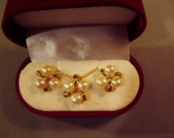 Vintage 1980s Genuine Cultured Freshwater Pearl Pendant Necklace Pierced Earrings Set  8583