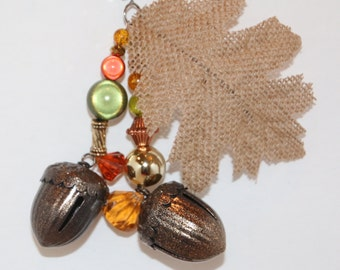 Acorn Bells and Burlap Leaf Thanksgiving Tablecloth Weights Set of 4