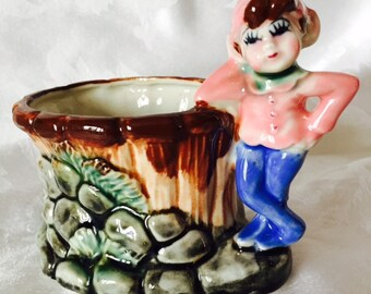 Vintage Planter Pixie Elf Fairy Leprechaun Wishing Well Figurine Porcelain Ceramic Pink Made in Japan 50's 60's Mid Century Kitsch Decor