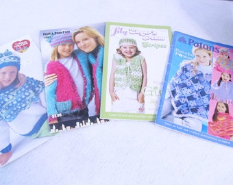 4 Crochet Booklets with girls ponchos, scarves, hats, purses, backpacks, sweaters, vests, afghans,