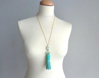 Mint green white polka dot Tassel long necklace