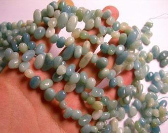 Amazonite - bead - full strand - rounded pebble drop Stick - PSC293