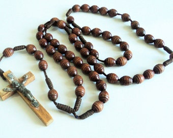 Vintage Wood & Metal Crucifix Rosary