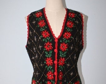 SALE Vintage UGLY CHrisTMAS Sweater Vest . Black Knit Vest Embroidered Poinsettias . Beads . Kitsch Loud . Size Medium