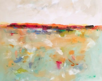 Large Colorful Abstract Landscape Original Painting -Tangerine Horizon 36 x 48