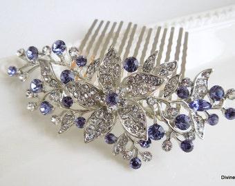 Bridal Purple Swarovski Crystal Wedding Comb Wedding Hair Accessories Vintage Style Purple Leaf Rhinestone flower Bridal Hair Comb KATY
