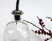 Lovely Upcycled Recycled Small Patron Bottle for Oil, Vinegar, Cruet, Bottle Pourer