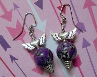 Purple Winged Earrings (2427)