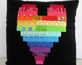 HE.art by CC Rainbow Heart Pillow Cover on Black Kona Cotton  (Pillow Cover Only)