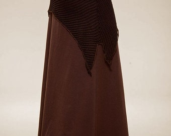 February Sale 20% Off Long Goddess Skirt - Bohemian Skirt - Pixie Skirt - Double Layer jersey Skirt - burning man outfit