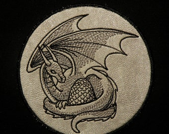 """Mother of Dragons Iron on Patch on Cowhide Leather 4.25"""""""