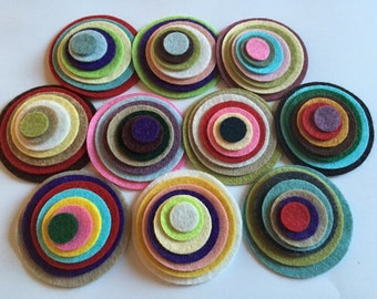 Wool Felt Circles 70 total -  Sizes 2in - 1/2in Random Colored 2702 *stock image - felted circle - circle die cut - headband supplies