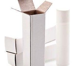 50 White Lip Balm Boxes for Standard Tubes