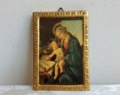 "Vintage Madonna Jesus Religious Art Print on Wood Made in Italy, ""The Virgin and the Baby"" by Botticelli, Small Embossed Gold Gilt Picture"