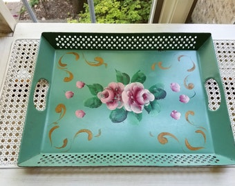 Vintage Metal Tray Handpainted Seafoam Green Pink Roses, Heavy Reticulated Rectangle With Handles, Shabby Cottage Coastal Style