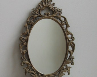 Vintage Ornate Gold Mirror With Self Easel For Wall Or Tabletop, Hong Kong