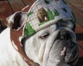 ENGLISH BULLDOG REVERSIBLE hat Funny Dog Hat, Fall, Winter Hat, warm, Brown tan, plaid, matches Coats Bulldog Hat, Pet Clothes, dog hat