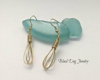 Gold Whisk Earrings - Wire Whisk Earrings - Cooking Jewelry - Bakers Jewelry - Wire Wrap Jewelry - Silver Wire Jewelry - Dangle Earrings