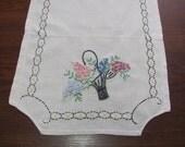 Vintage Ecru Hand Embroidered Flower Basket Floral Table Runner Dresser Scarf