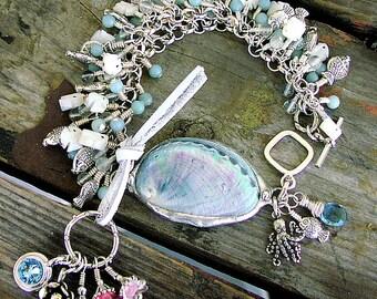 Ladies Abalone Mother of Pearl Sterling Silver Gemstone London Blue Topaz  Octopus's Garden Whimsical Summer Charm Bracelet