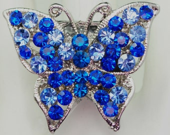 Blue Rhinestone Butterfly Ring/Mini/Two Tone/Spring/Summer Jewelry/Silver/Gift For Her/Adjustable/Under 15 USD