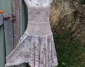 poetic bohemian dress, lace and crochet, arty alternative gown