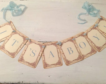 It's a Boy Banner, It's a Boy Garland, Baby Boy Shower Banner Boy Photo Prop Vintage Blue