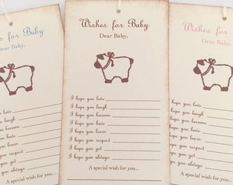 Dear Baby Lamb Wish Tree Tags Baby Shower Wishing Tree Set of 10