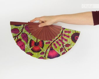 African wax print accessory - Spanish hand fan with case by Olelé - Neon Flowers - Urban fashion Spring Summer