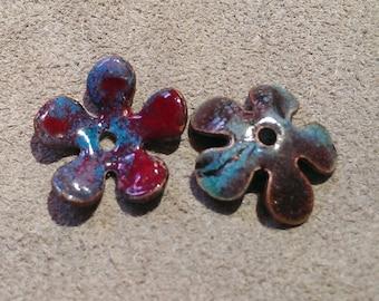Jewelry Findings: Handmasde Enamel Bead caps, Flower 2015 F-77