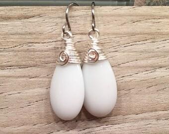 Striking Drop, Preciosa, Czech pressed glass, opaque opaline puffed flat teardrop. earrings wire wrapped feminine neutral jewelry