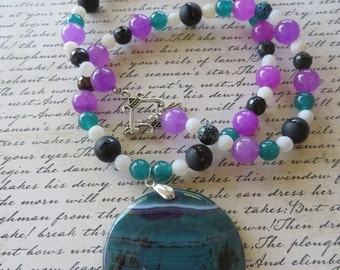 Purple and Teal Dyed Jade Purple Crackled Agate and Black Striped Agate Beaded Necklace with Agate Pendant