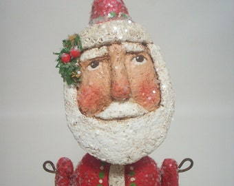 RESERVED FOR NANCY Santa Folk Art Primitive paper Mache Red