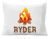 Camper Pillowcase - Personalized Camping Pillow case - Standard Personalized Pillowcase - Camp Fire - Smores