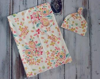 Floral Cotton Knit Swaddle Blanket