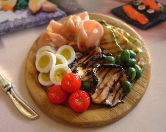 1 tray of  eggs cheese and salumi