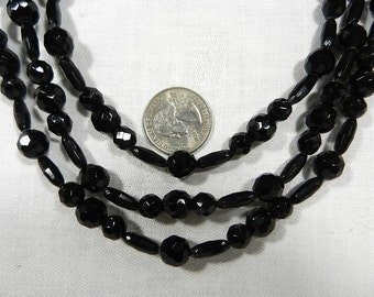 """3-Strand Black Glass Faceted Beads Necklace, Unmarked, 24 """" Inches Long"""