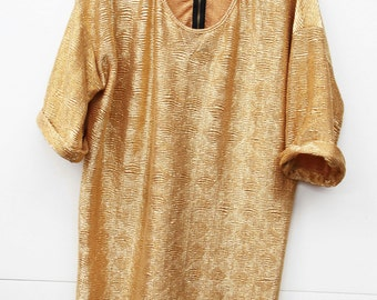 Glimmer Bug, Vintage, Over Sized Gold Lurex Stretch Top, from Paris